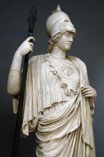 The Athena Giustiniani. Roman copy of a Greek statue of Pallas Athena. 2nd century. Detail.