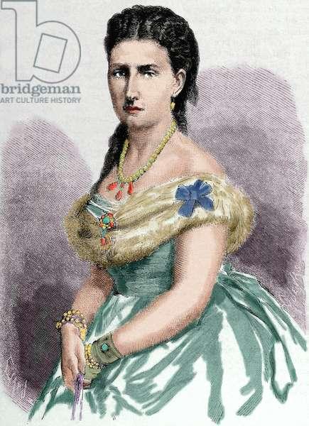 Infanta Antonia of Portugal. (1845 'A?i?1913). Was a Portuguese infanta (princess) of the House of Braganza-Saxe-Coburg and Gotha. Engraving. Colored.