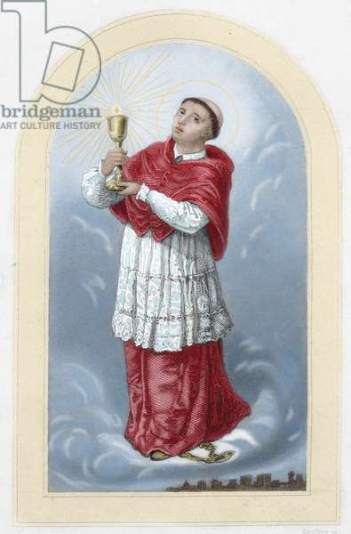 Saint Raymond Nonnatus (1204–1240). Saint from Catalonia in Spain. Colored engraving. 19th century.