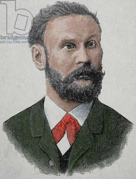 Otto Lilienthal (1848-1896). German pioneer of aviation. Engraving,1890. Colored.