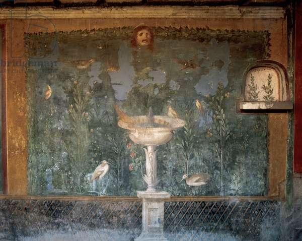 Italy. Pompeii. House of Venus. Fresco. Garden with birds around the fountain and mask. 1st century.