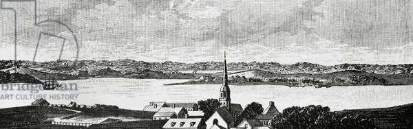 American Revolutionary War (1775-1783). The Siege of Boston (1775-1776) (engraving)