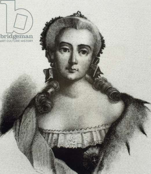 Elisabeth of Russia (1709-1762), Empress of Russia, House of Romanov (engraving)