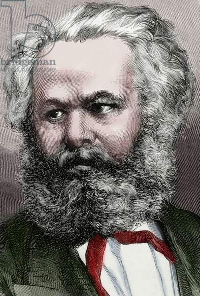 Karl Marx (1818-1883). German Philosopher, political economist and communist. Portrait (colour engraving)