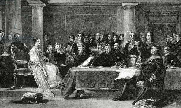 First Council of Ministers presided by Queen Victoria, 1838 (engraving)
