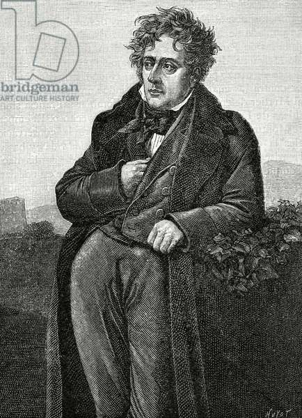 Portrait of Chateaubriand, Franc?ois Rene, Vicomte de (engraving)