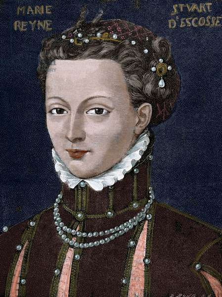 Mary, Queen of Scots (1542-1587). Queen of Scotland and Queen consort of France, 1885 (colour engraving)
