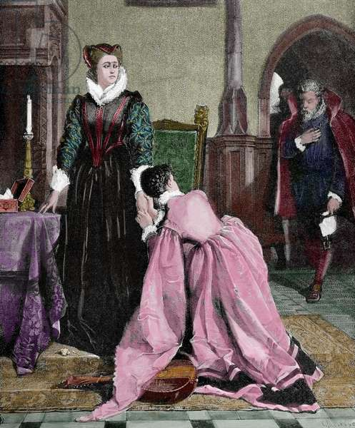 Mary, Queen of Scots (1542-1587) Queen of Scotland and Queen consort of France. Capital punishment, 1885 (coloured engraving)