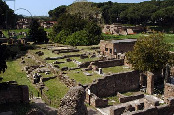Ostia Antica. House of Apuleius. Pompeian style. Dated under Trajan. Overview. Italy.
