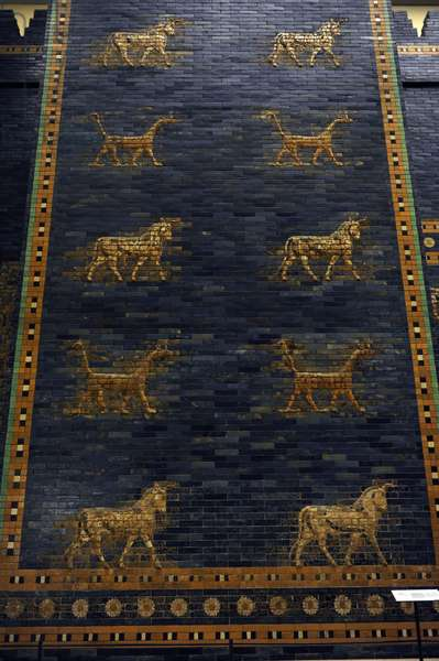 Ishtar Gate. The eight gate of the inner wall of Babylon. Built in 575 BC by order to Nebuchadnezzar II. Reconstructed in 1930. Detail. Pergamon Museum. Berlin. Germany.