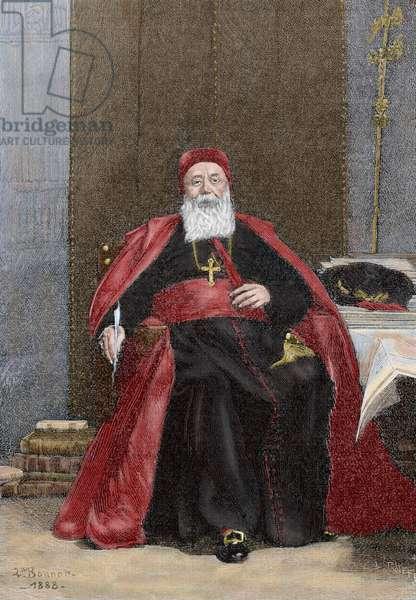 Cardinal Charles Lavigerie (1825-1892). COLOURed engraving. France