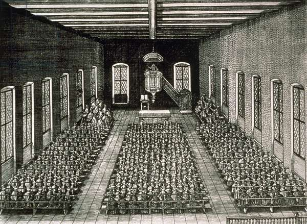 Service in the Reformed church of Stein, Nuremberg (copper engraving)