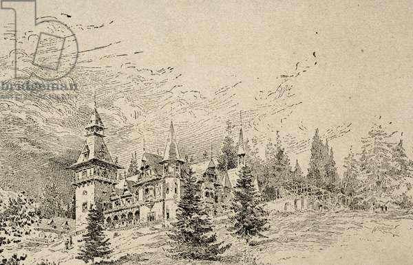 Summer residence of Elisabeth of Wied (1843-1916). Engraving.