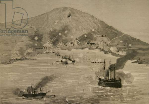 War of the Pacific.1879-1883. Conflict between Chile and Peru and Bolivia. Pisagua. Bombardment of the population by Chilean vessels, April 18, 1879, La Ilustracion Espanola y Americana, 1879 by Rico (engraving)