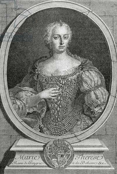 Queen Maria Theresa of Austria (1717-1780). Engraving1885.