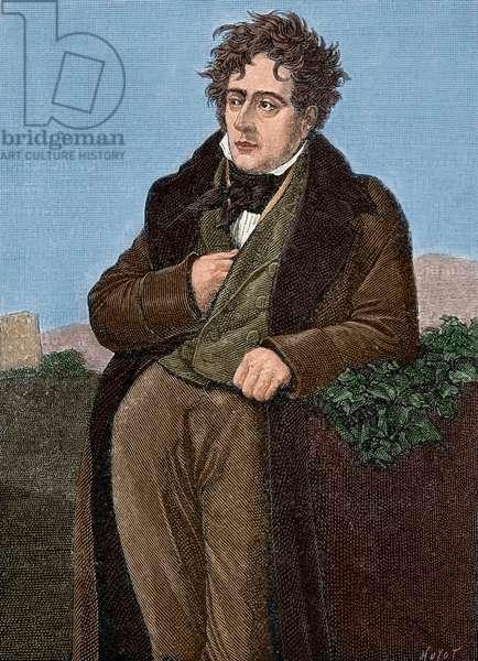 Chateaubriand, Franc?ois Rene, Vicomte de (1768-1848), Portrait (colour engraving)