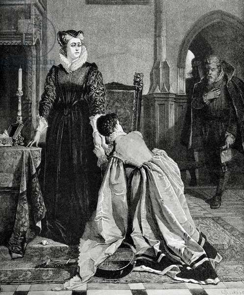 Queen Mary of Scotland (1542-1587) and Queen consort of Francesentenced to capital punishment. Engraving, 1885.