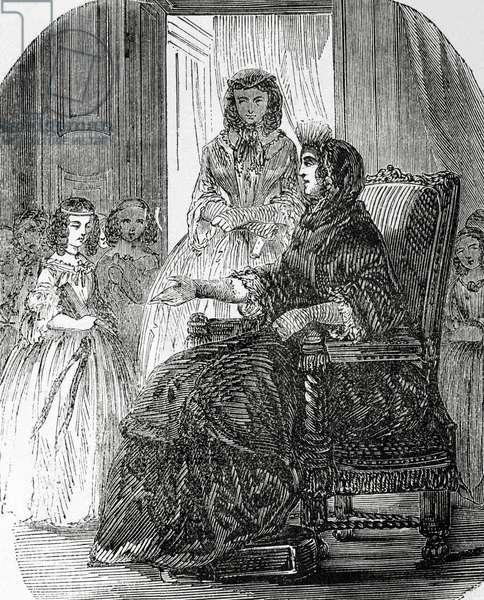Franc?oise d'Aubigne, Marquise de Maintenon (1635 –1719). Second wife of King Louis XIV of France. Engraving.