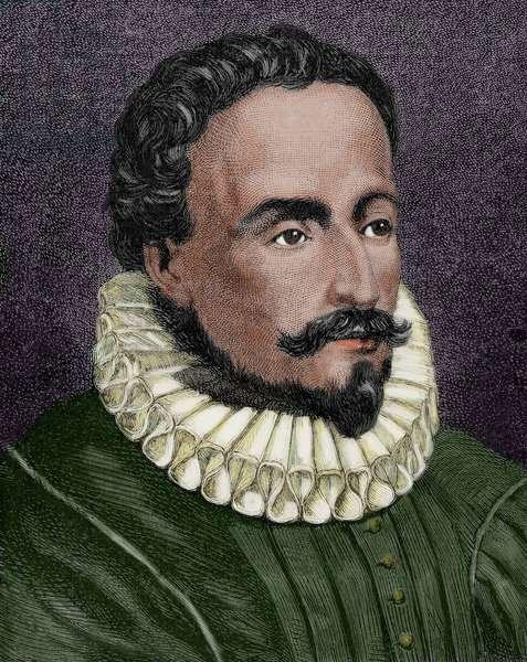 Miguel de Cervantes (1547-1616). Colored engraving.