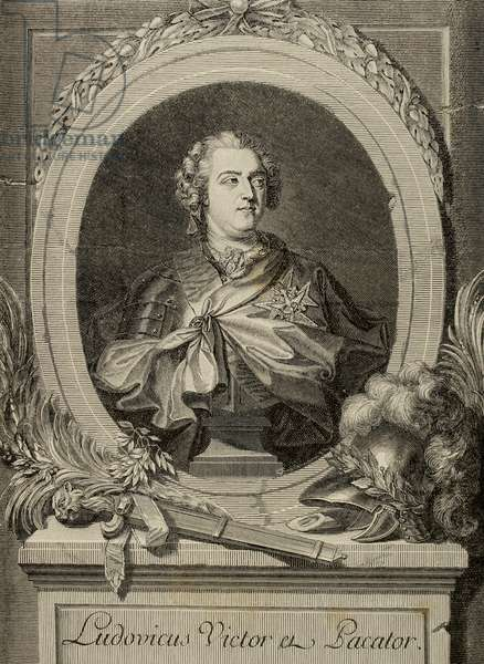 Louis XV of France (1710-1774).  King of France and Navarre.  Engraving. 19th century.