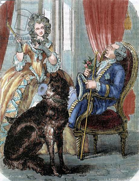 Louis XV and Marie Jeanne Becu, Comtesse du Barry, 1851 (engraving) (later colouration)