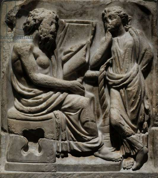 Roman sarcophagus fragment depicting a Poet and Muse. Third quarter of the 3rd century AD (marble)