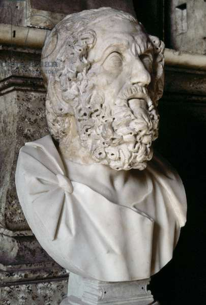Homer (c.8th century). Greek epic poet. Bust. Copy of an original from 2nd century BC.
