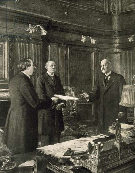 Thomas Woodrow Wilson (1856-1924) meets with the representatives of the Allied forces (engraving)