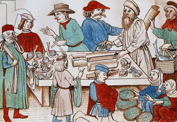 A Market Scene. Miniature from the Chronicle of Ulrich of Richenthal. 1438.