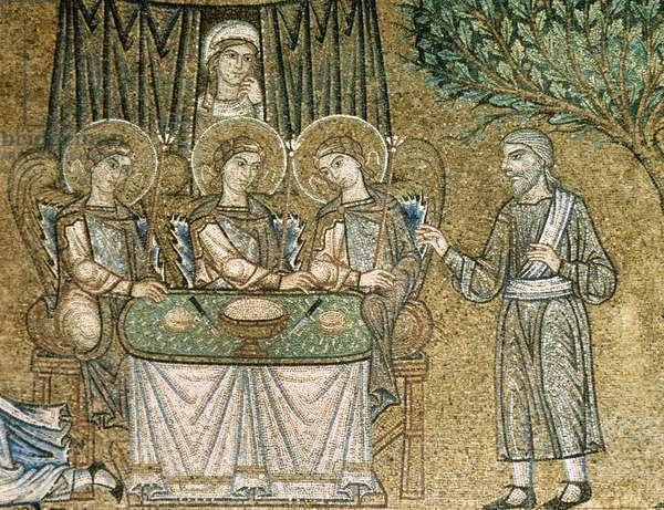 Three angels hosted by Abraham, Bible scene, Mosaic, 13th c, Atrium, St, Mark's Basilica, Venice, Italy