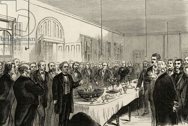 United States. New York. 50th Anniversary of the introduction of homeopathy. Commemorative banquet in the Hospital of Ward's Island. Engraving.