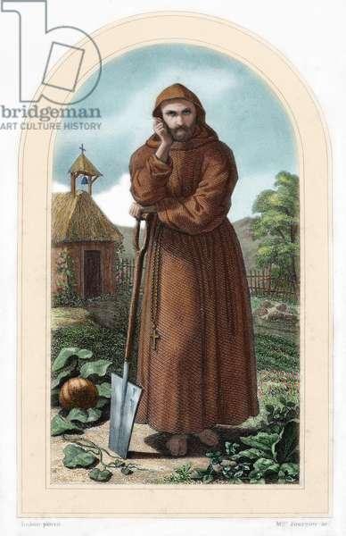 St. Fiacre. Irish hermit monk born in 7th century. Patron of gardeners. Nineteenth century colored engraving.