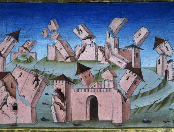 The end of the world and the Last Judgment. All houses and villages be destroyed. 6th time. Miniature by Cristoforo de Predis (1440-1486), 1476.