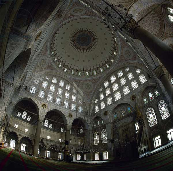 Turkey. Istanbul. The Mihrimah Sultan Mosque, designed by Mimar Sinan. 1562-1565. Inside.