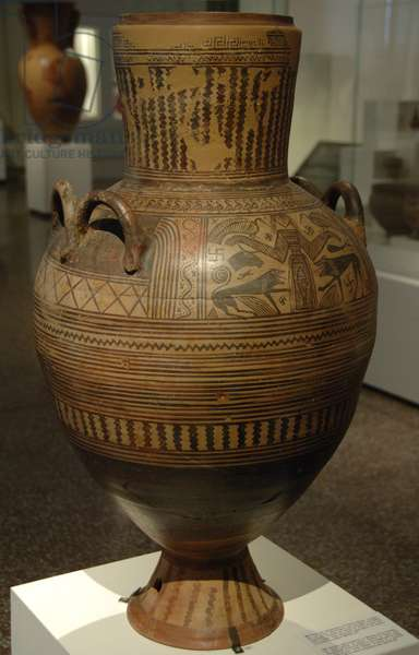 Greek Art. Archaic period. Greek pithos decorated with the great nature goddess flanked by lions and birds.