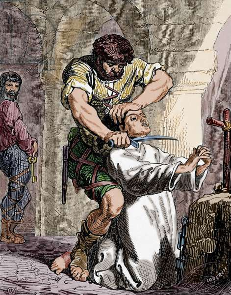 Death of Saint Hermenegild. Engraving. Colored.