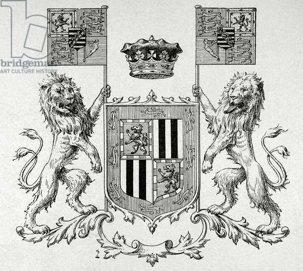 Victoria Eugenie of Battenberg, Coat of arms (engraving)