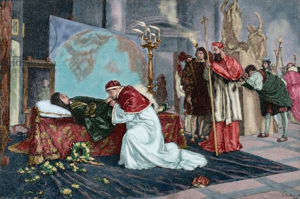 Pope Leo X in Raphael's deathbed (engraving)