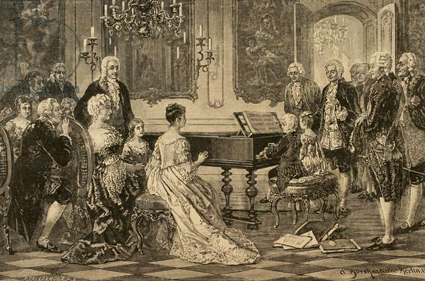 Maria Anna (Nannerl) and Wolfgang Amadeus playing  before the Empress Maria Theresa (1717-1780) . Vienna1762. Engraving .