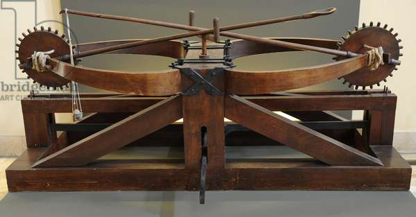 The double catapult. Designed by Leonardo da Vinci. 15th century. The Science and Technology Museum Leonardo da Vinci. Milan.