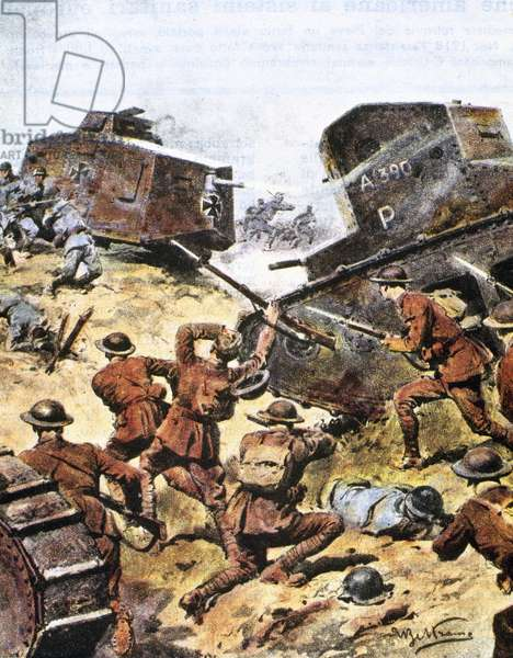 World War I (1914-1918). Battle between Allied and German tanks in May 1918.