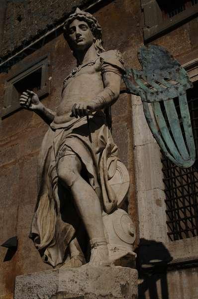 Archangel Michael, 1544. Statue by Raffaello da Montelupo (1504-1566). Rome.