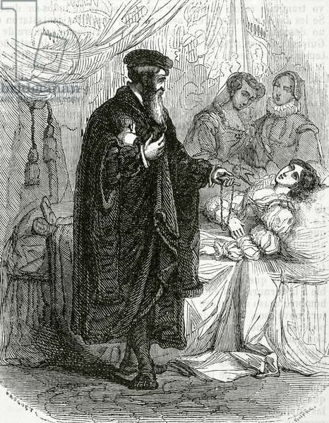 Jeanne d'Albret of Navarre giving birth to her son, the future king Henry III of Navarre and IV of France (engraving)