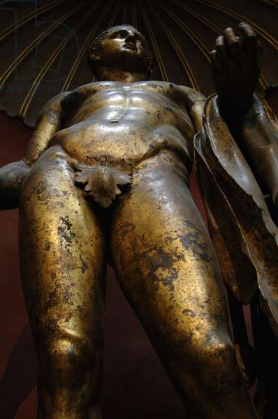Hercules with mallet, skin of the Nemean lion and golden apples. Colossal gilded bronze statue.