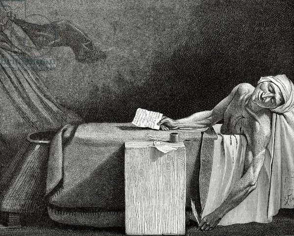 Jean-Paul Marat (1743-1793). Death of Marat. Engraving.
