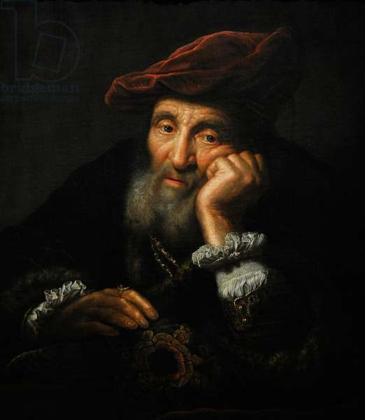 Old man, leaning on a cushion. Copy. By Govert Flinck (1615-1660).