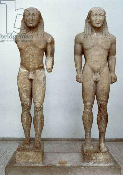 Greek Art. Archaic period. Kleobis and Biton. Kouroi. C.580 BC. Sculpture by Polymides of Argos.C. 580 BC.