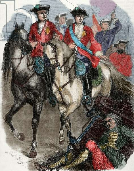 Louis XV of France (1710-1774).  King of France and Navarre. Louis XV and the Dauphin in the Battle of Fontenoy,1745. Engraving. coloured.