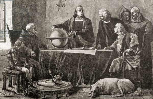 Christopher Columbus at La Rabida. Engraving.
