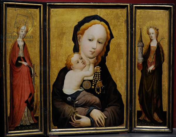 Triptych with Madonna with the Flower of the Sweet Pea with St Catherine (left) and St Barbara (right), ca.1410-1415, by Master of Saint Veronica (active in Cologne, between 1395-1415).